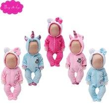 43 cm baby dolls clothes cute pink cat Unicorn suit pajamas American newborn dress  Baby toys fit 18 inch Girls doll zf10 цена в Москве и Питере
