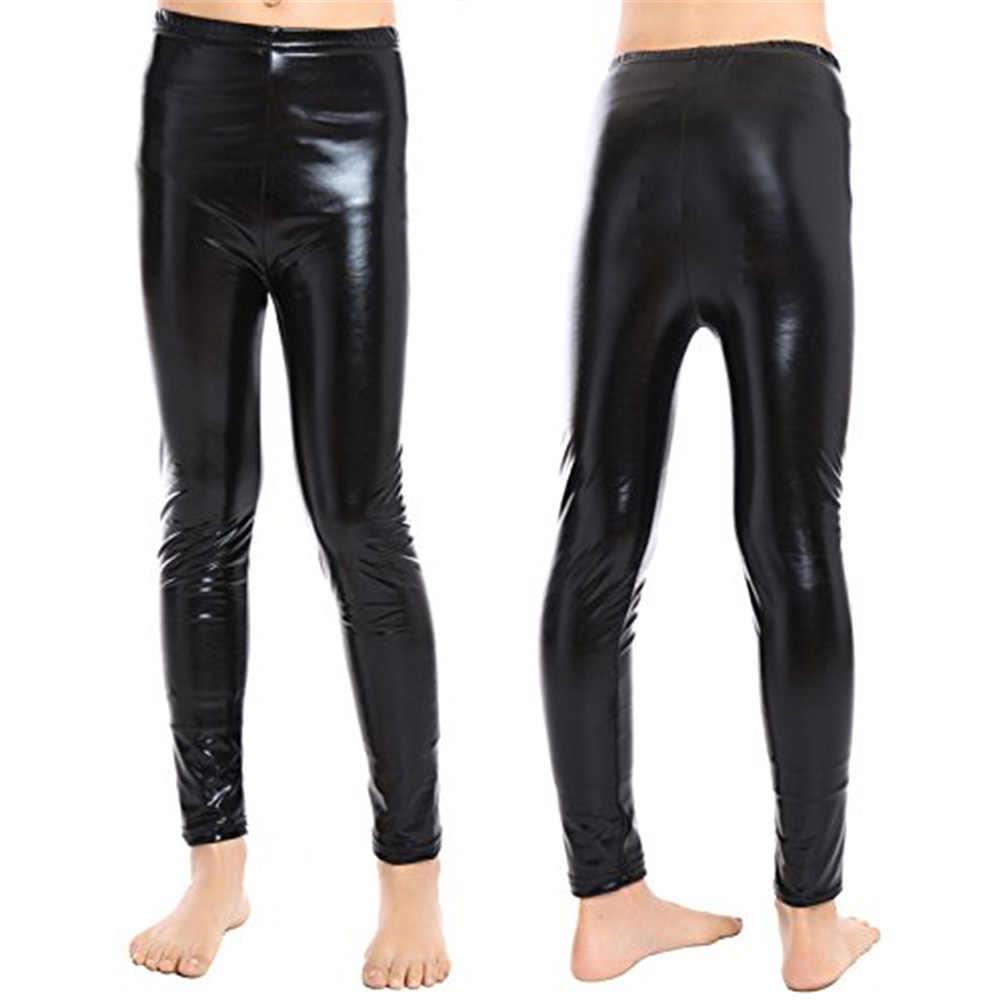 YiZYiF בנות מתכתי צבע מבריק מכנסיים למתוח חותלות סקיני מכנסיים ג 'אז חותלות בלט תחפושות ילדים ג' אז ריקוד תחרויות
