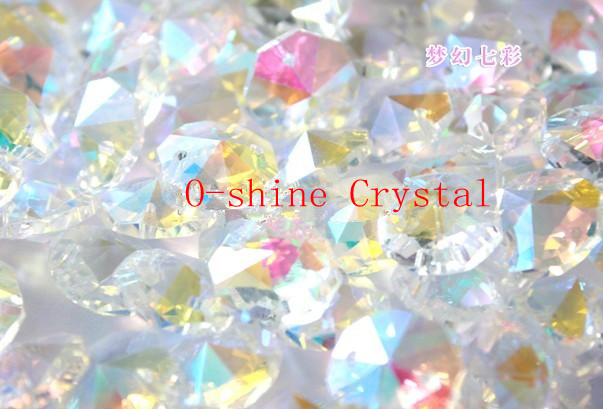 600pcs +600pcs rings14mm Ab Color K9 Crystal Octagon Baeds In 2 Holes Home Decoration Accessories DIY Curtain Beads Glass Prisms-in Chandelier Crystal from Lights & Lighting    1
