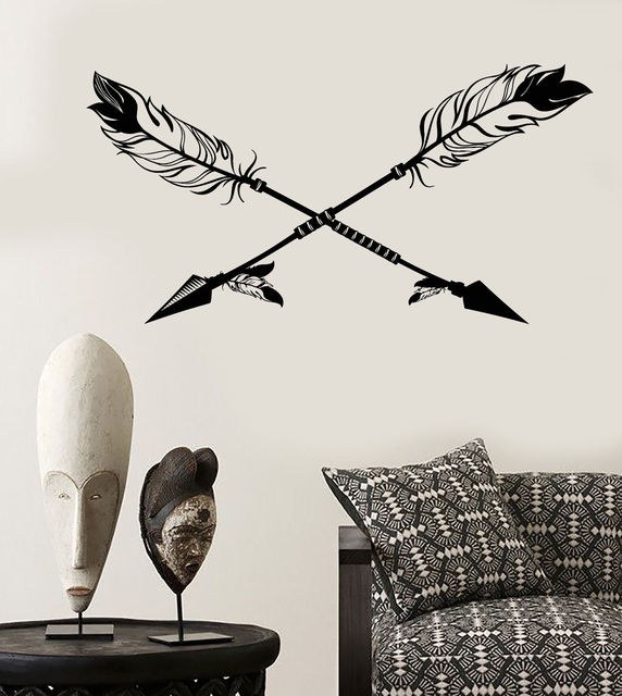 Vinyl Wall Decal Arrows Ethnic Style Birds Feathers Hunter Stickers Wand Tattoo Home Decor Mural
