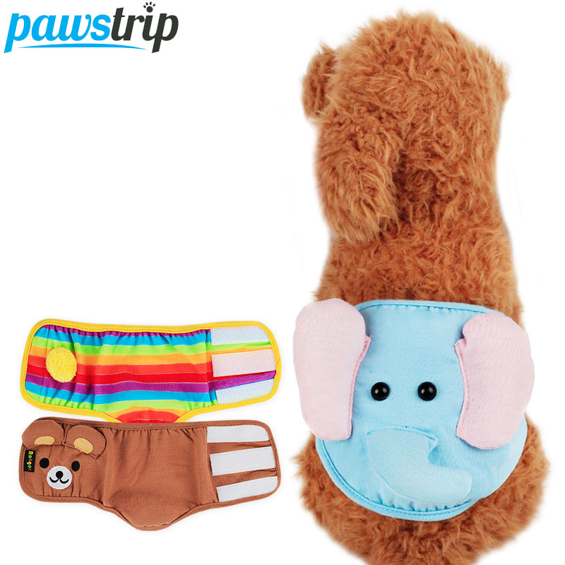 Cute Animal Print Male Dog Diaper Soft Cotton Puppy Underwear Physiological Pants S/M/L