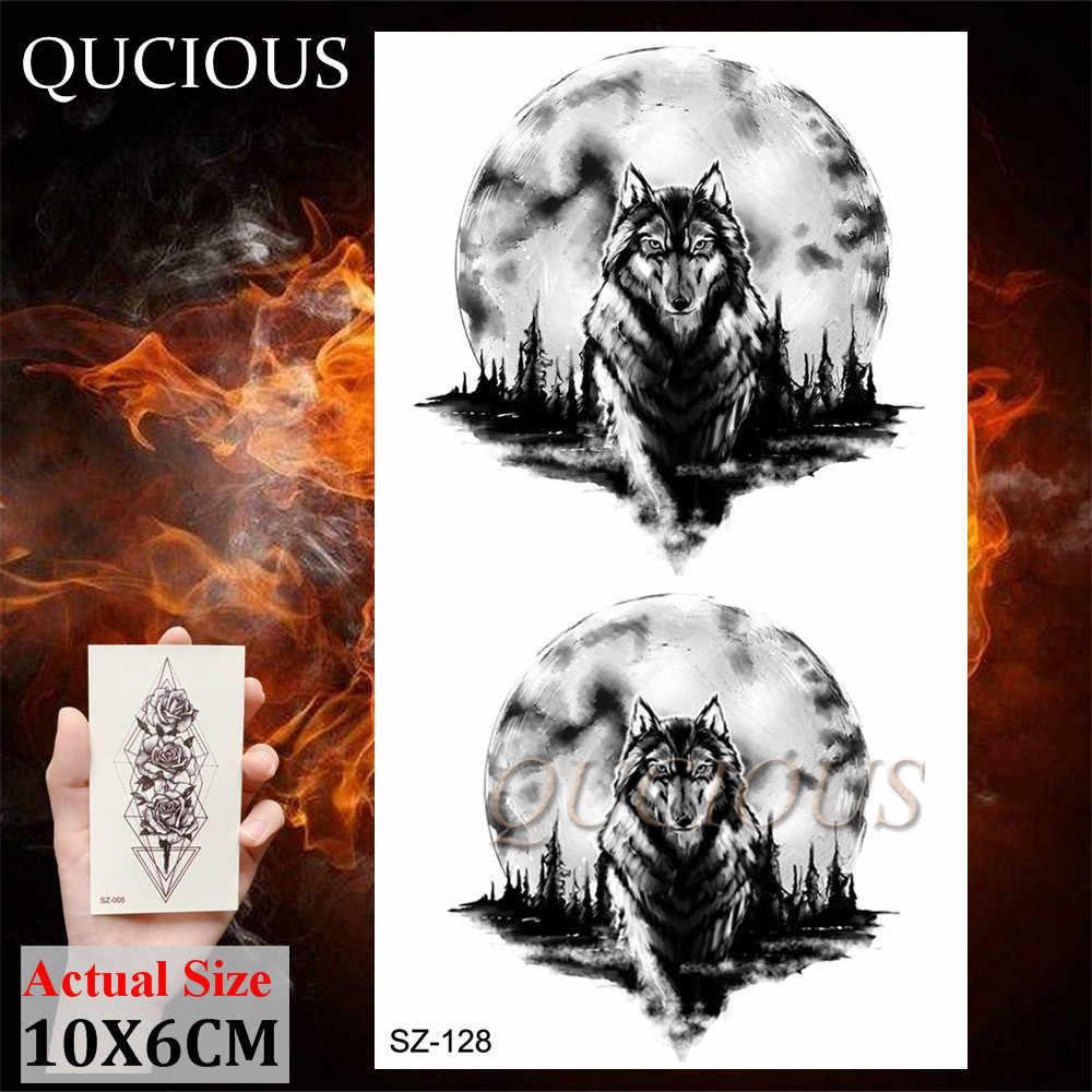 Qucious黒一時的な入れ墨オオカミクマヘラジカ偽のボディアートの絵画アーム胸男性のための現実的な枚のステッカー
