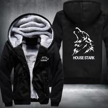 2016 Game of Thrones House Stark of Winterfall Sweatshirt Zipper Fleece Winter Hoodies Men Tracksuit USA