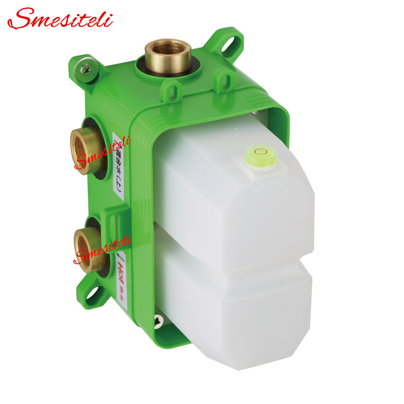 Image 2 - Wholesale Dual Handle Thermostatic Faucet Mixing Valve 2 Ways Easy mount Box Brass Concealed Valve Wall Shower Mixer Diverterfaucet mixing valvethermostat faucetshower mixer -