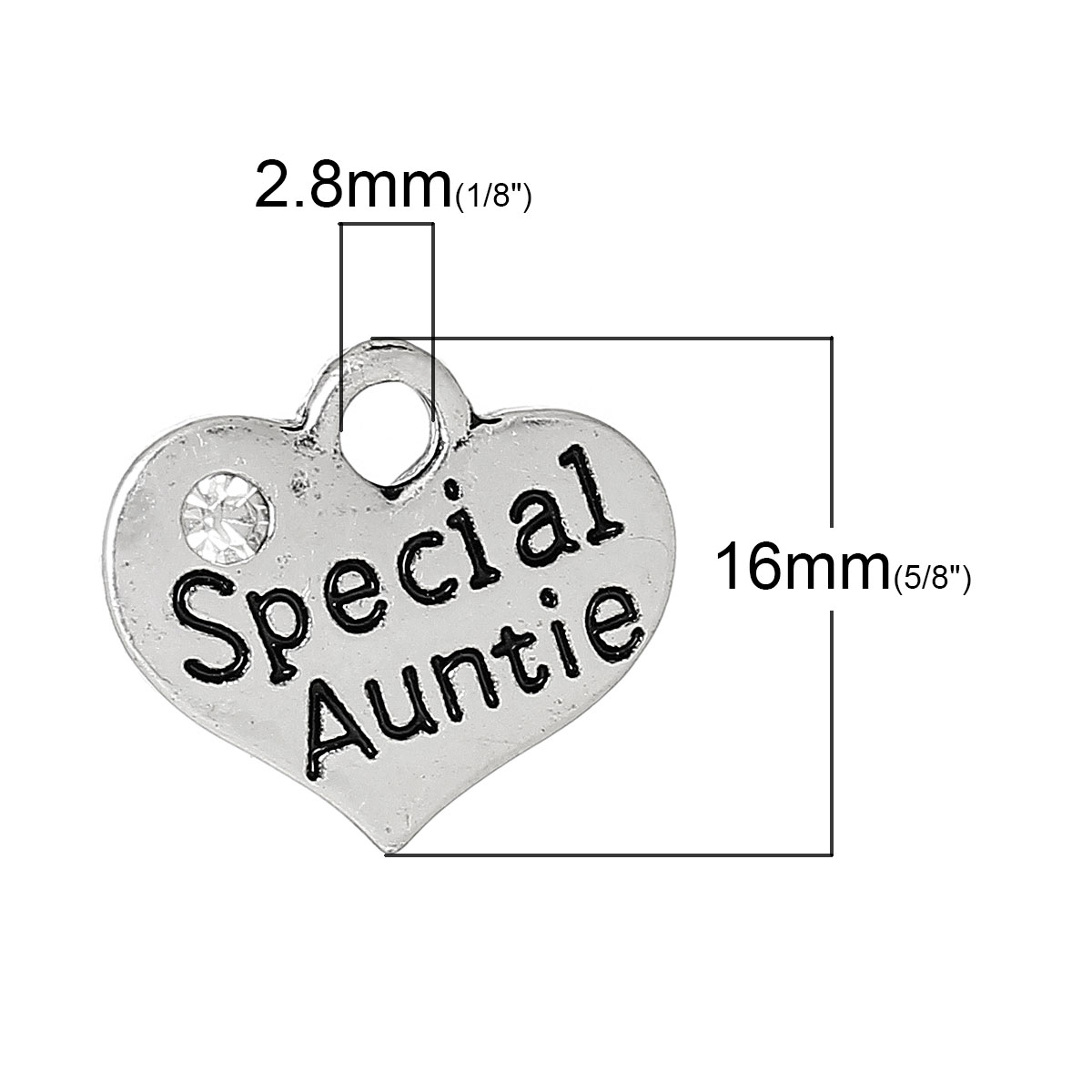 DoreenBeads Charm Pendants Heart antique silver color Message PatternSpecial AuntieCarved Clear Rhinestone 16mm x 14mm,20 PCs