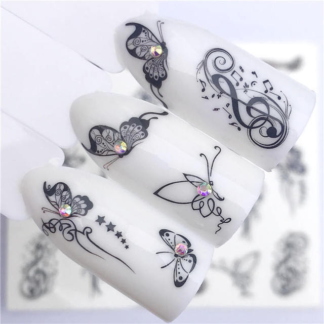 LCJ 1 PC Hot Nail Sticker Black Butterfly Note Beauty Water Transfer Stamping Nail Art Tips Nail Decor Manicure Deca