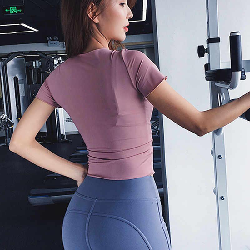 Kobiety koszulki sportowe Sexy bandaż V-eck joga topy z krótkim rękawem Gym Running Fitness koszulka oddychająca trening sportowy Crop Tops