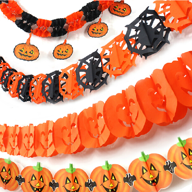 fashion new halloween decoration skeleton pumpkin witch skull garland halloween bar party stage set suppliers
