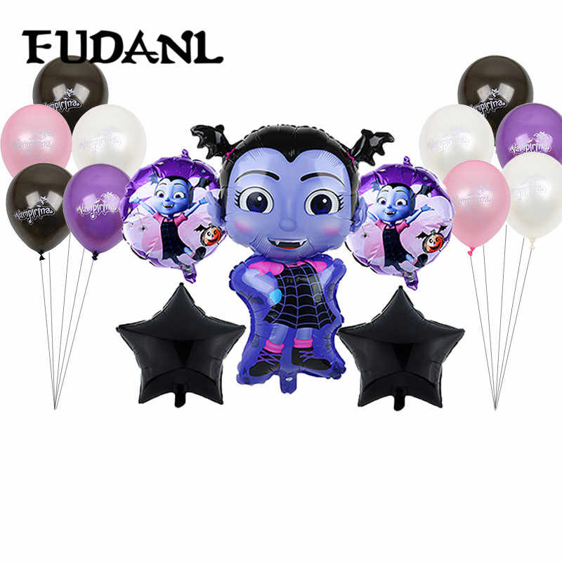 20pcs/lot  Vampire Girl Pentagram Witch Helium Foil Balloons Children Toys Globos Halloween Party Latex Vampirina Balloon Decor