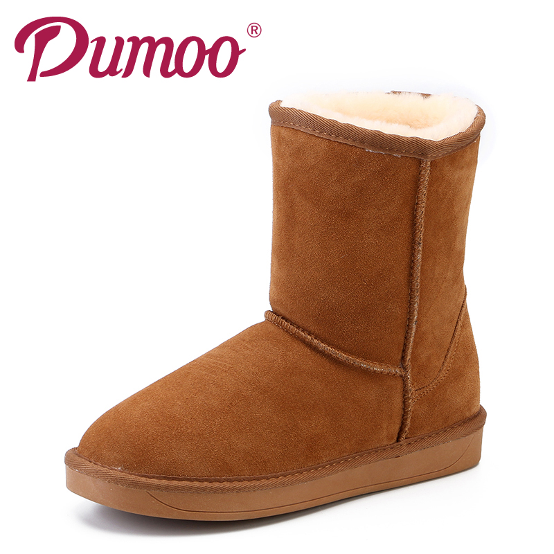 drfargo genuine leather shoes women zipper boots winter spring warm round toe plus big size 34 44 femme chaussure mujer zapatos Dumoo New 2018Lovers Genuine Leather Cow Suede Warm Winter Snow Boots Shoes Women Fur Round Toe Snow Boots Women 35-44 Plus Size