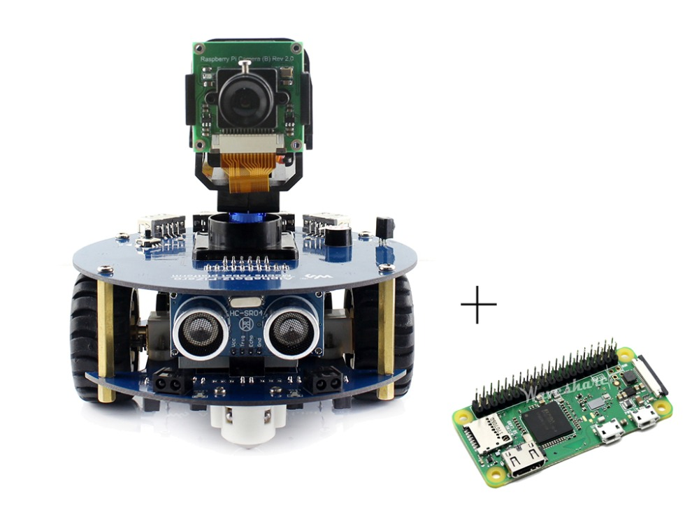 AlphaBot2 robot building kit for Raspberry Pi Zero WH IR control include RPi Zero WH Camera Micro SD Card Ultrasonic sensor etc waveshare raspberry pi robot building kit include raspberry pi 3b alphabot rpi camera ir control line tracking speed measuring
