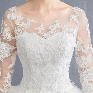 Image 4 - Simple See Through Lace Long Sleeve Wedding Dress 2019 Ball Gown Wedding Dresses China Cheap Bridal Gowns Made In China