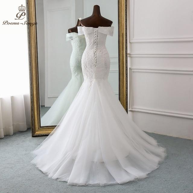 PoemsSongs  2019 new style Boat Neck beautiful sequined lace wedding dress for wedding Vestido de noiva Mermaid wedding dresses 3