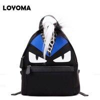 2016 Eye Monster Backpack Peekaboo Genuine Leather Leopard Grain Fox Fur Backpacks Designer Quality School Bag