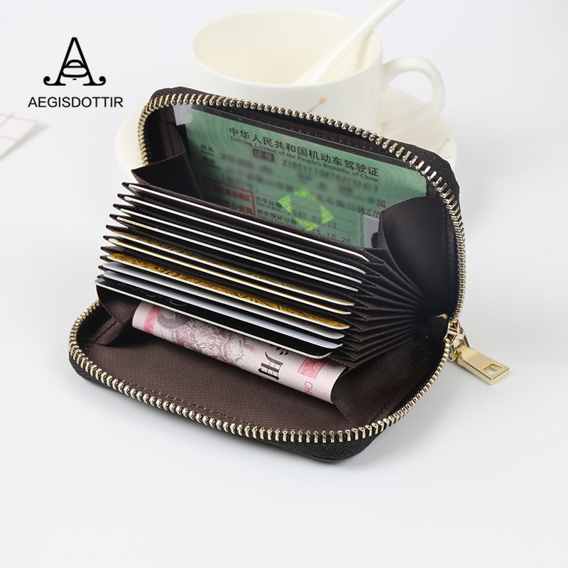 Women Solid Pattern High Quality Zipper Id Credit Card Holder Bag Patent Leather Fashion Cardholder Extendable Organizer Purse ...