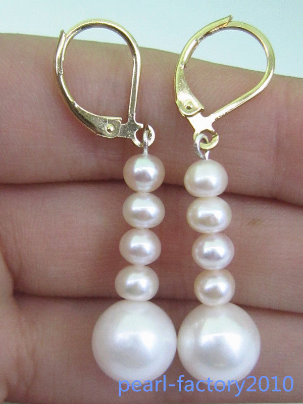 10-11MM AAA PERFECT south sea white pearl earrings 14K/20 GOLD10-11MM AAA PERFECT south sea white pearl earrings 14K/20 GOLD