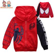 1 PC dzieci s bawełna Zipper Bluza z kapturem Spiderman haftowana kurtka ATST0281 tanie tanio Odzież wierzchnia i Płaszcze Kurtki Chłopców Pełne Czesankowa Hooded Anna Joyce Pasuje do rozmiaru Weź swój normalny rozmiar