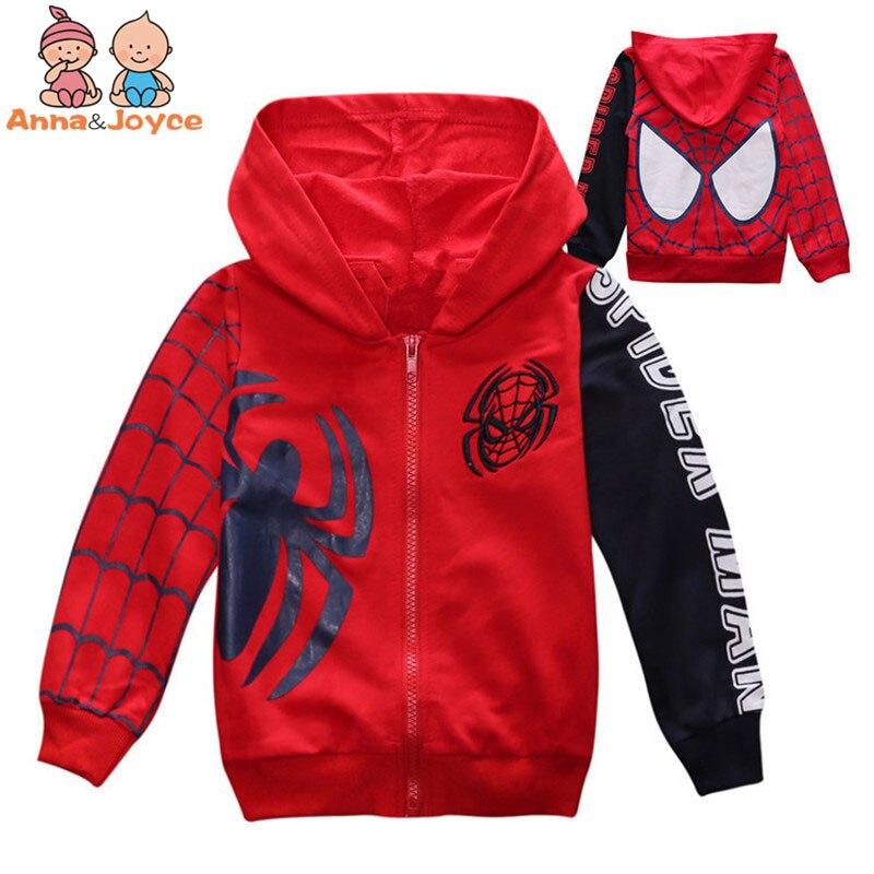 1 Stück kinder Baumwolle Reißverschluss Kapuzenjacke Spiderman Gestickte Jacke ATST0281