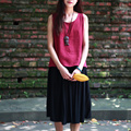2016 del verano mujeres del estilo new classic negro faldas plisadas rodilla-longitud ocasional suelta más la cintura elástico vintage patchwork