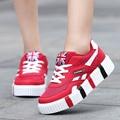 Casual Tenis Feminino Basket Femme 2016 Girl Slipony Women Krasovki High Heels Platform Gumshoe Wedge Harajuku Shoe Flat YS x115