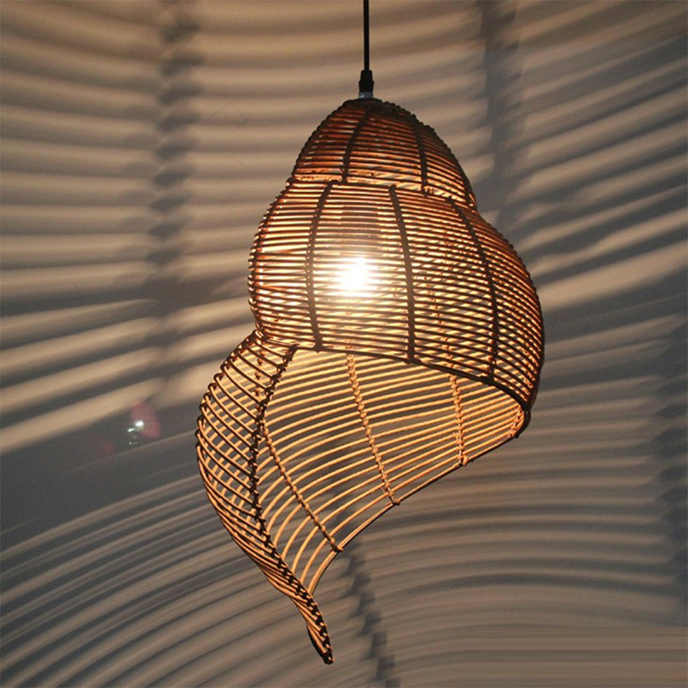 Southeast Asia Creative Pendant Lamp Sea Snail Shape E27 Wicker Lamp Shades LED Lights For Study Parlor Fixtures Restaurant Etc