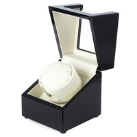 Black And White Automatic Wooden Watch Winder Display Box Deluxe Flipping Transparent Cover Jewelry Storage Case