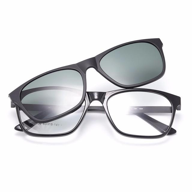 Gmei Optical 1606 Urltra-Leve Óculos TR90 Quadro com Clip-on Polarizado Guarda-sóis para Mulheres e Homens Eyewear