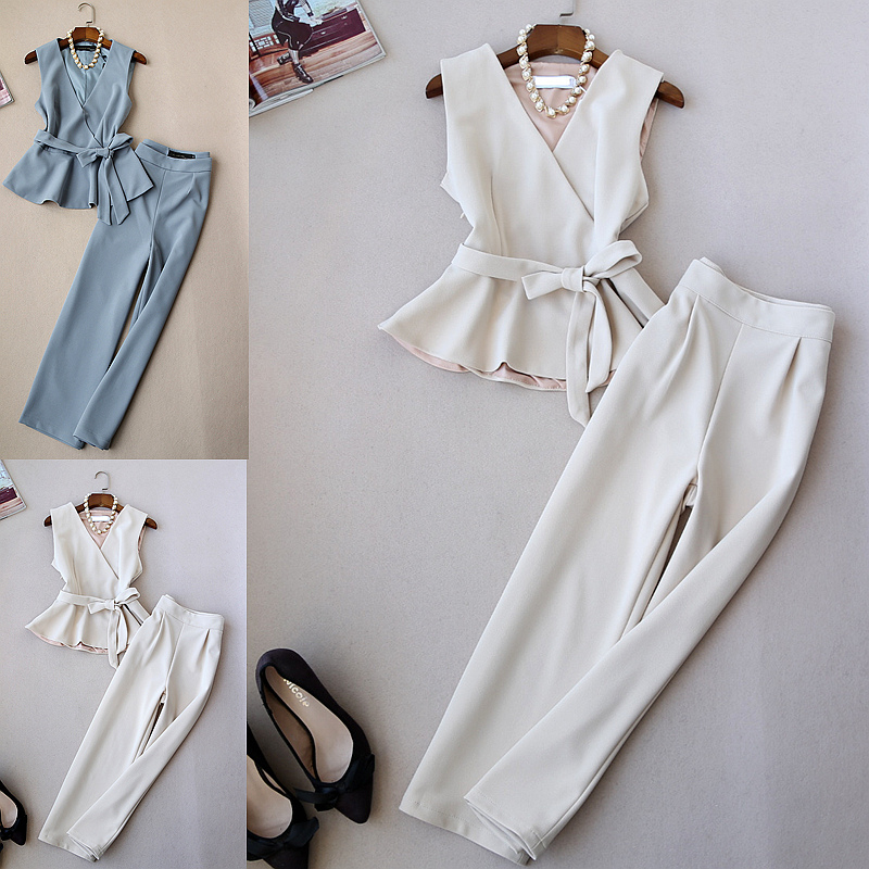Spring Summer Fashionable Women V neck Peplum Bowknot Waist Top and Wide Leg Pants Clothing Set
