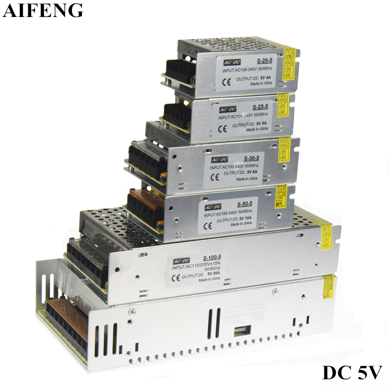 цена на AIFENG Switching Power Supply Driver Transformer 20W 25W 30W 50W 100W 300W For Led Strip Light AC 110V 220V To DC5V Power Supply
