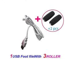 Superhot-2In1 USB Electric Foot File Polish Pedicure Pumice For Heels + 2 Roller Heads #USB239
