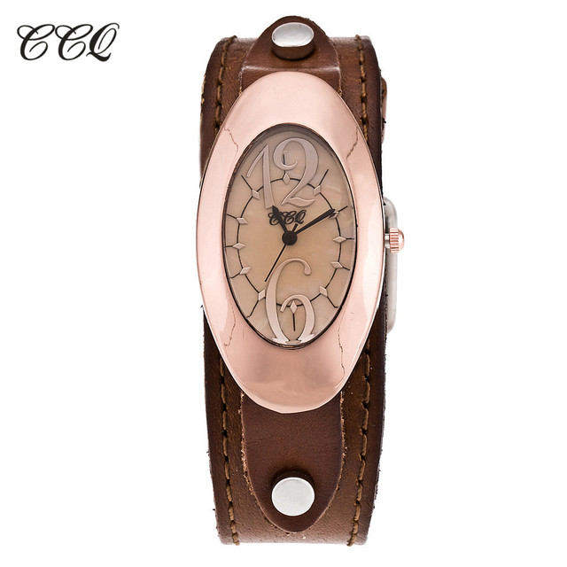 CCQ Brand Vintage Genuine Leather Bracelet Watch Fashion Casual Women Quartz Wat