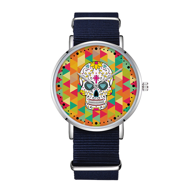 D-0003 Nylon Watches Man Canvas Skull Mens Watch Your Own Picture Watch Accepted Special Design Gift ClockD-0003 Nylon Watches Man Canvas Skull Mens Watch Your Own Picture Watch Accepted Special Design Gift Clock