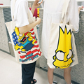 IVI casual cute cartoon canvas tote bag for women and men