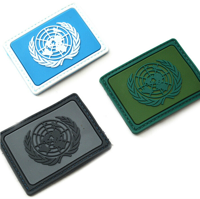 UNITED NATIONS NATIONS UMIES UN Flag PVC Patch Rectangle Tactical Hook And Loop Armband Badge Black Coyote Army Green 3pcs/lot