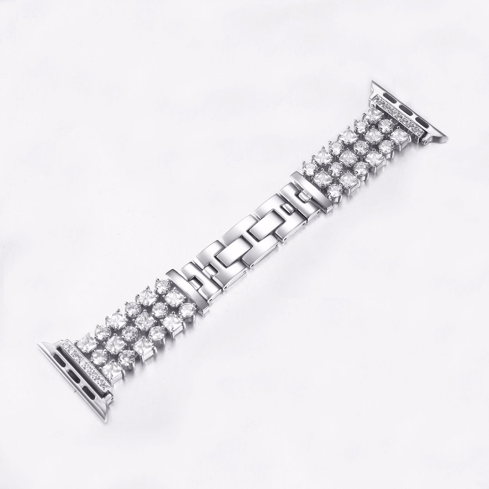 For Apple Watch Series 1 Series 2 Series 3 38mm 42mm Watch Band Stainless Steel Diamond Mounted Metal Strap I282. apple watch band 38mm 42mm secbolt metal replacement wristband sport strap for apple watch nike series 3 series 2 series 1