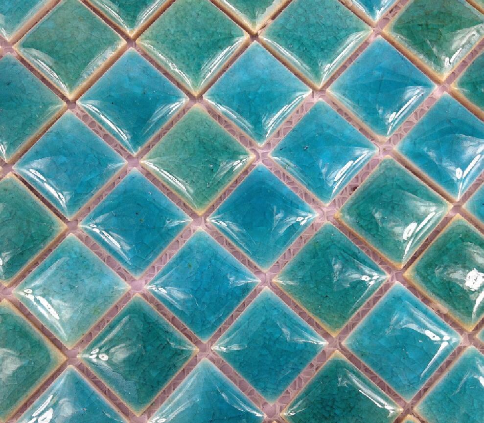Glazed Procelian Blue Ceramic Mosaic Tiles For Kitchen
