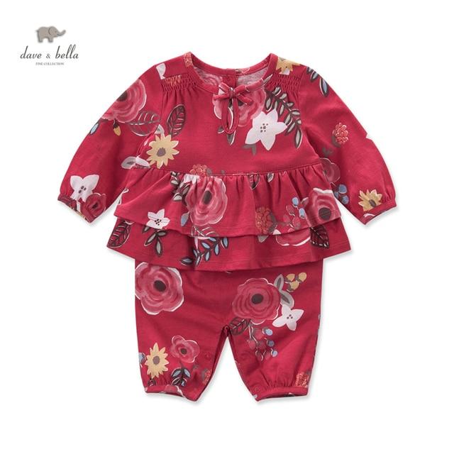 DB3674 дэйв белла осень новорожденного хлопок красный цветок печатных ползунки детские одежда девушки цветочные симпатичные l ползунки ребенка 1 шт.