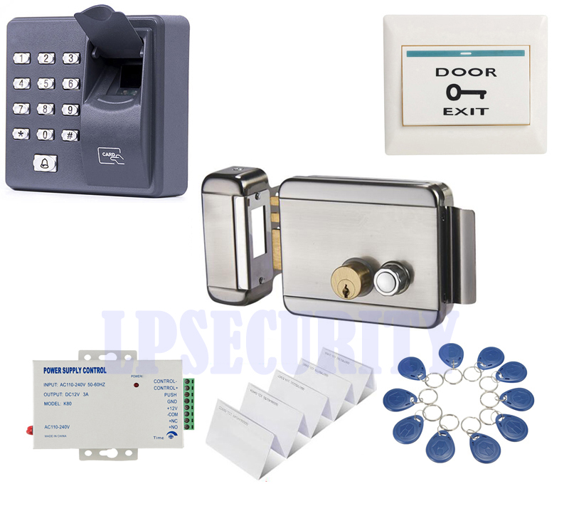 12VDC fingerprint RFID access control Electric Gate Door Lock kit with 5 ID tags 5 smart pvc EM cards for home factory Gate Door lpsecurity battery powered 12vdc 13 56 ic rfid reader electric gate door lock access control system kit with 10tags or tm tag