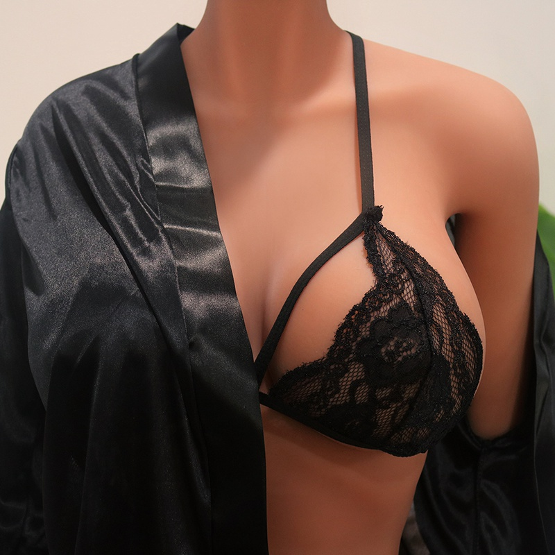 Bras For Women Mujer Sexy Three-Point Lace Straps Reggiseno Harness Soutien Gorge Sex Sexy Hanging Neck Low Seksi Chest Back Bra