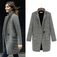 Fashion Long Woolen Women Coat Female Plus Size Winter Autumn Plaid Jacket 2019 Wool Blend Cape Coat Tweed Outwear 5XL 6XL 7XL