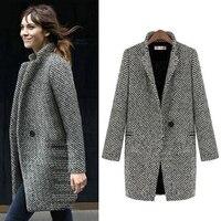 Fenghua Fashion Long Woolen Women Coat Female Plus Size Winter Plaid Jacket 2018 Wool Blend Cape Coat Tweed Outwear 5XL 6XL 7XL