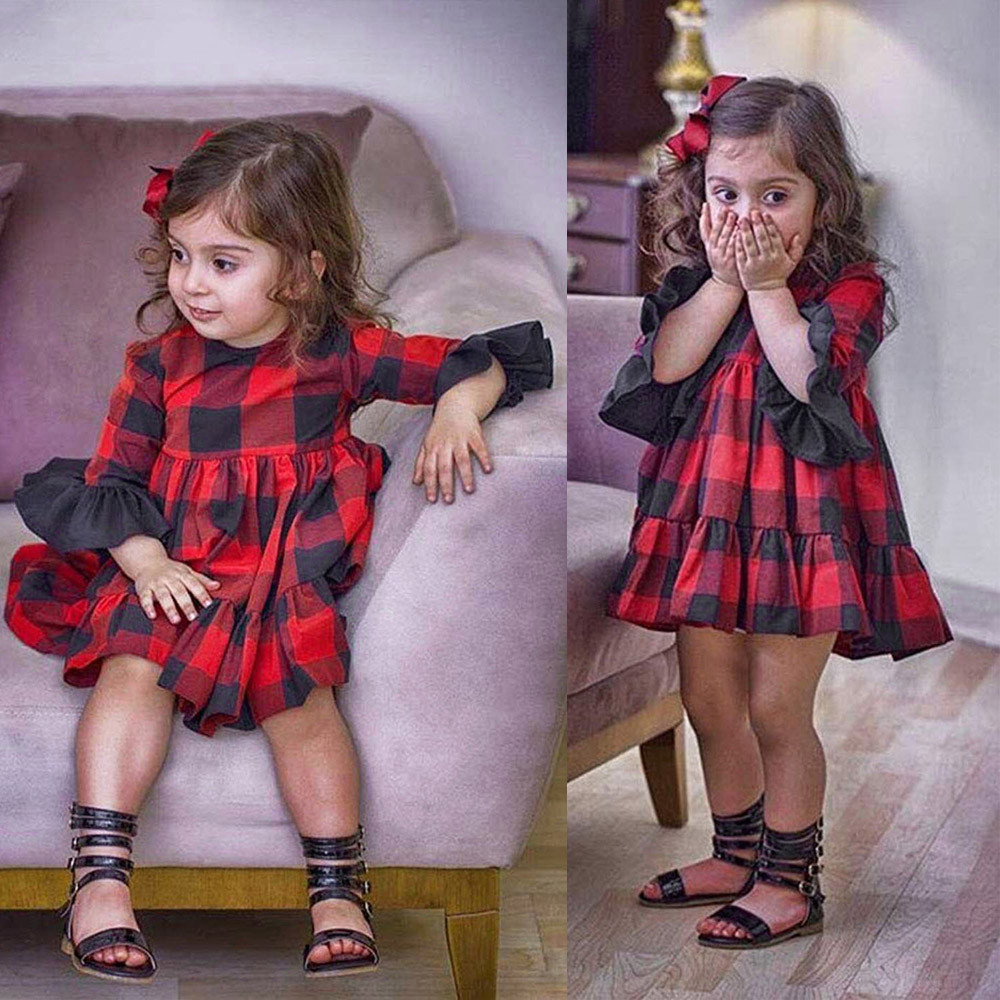 Kid Girl Tutu Dress Party Clothes Kids Baby Girls Clothing Cute Princess  Long sleeve plaid horn c64c5a37f422