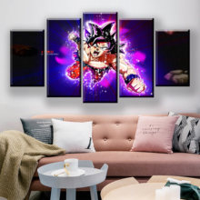 Dragon Ball Canvas Painting 5Piece Black Wall Art Picture Poster For Living Room Anime Canvas Prints Wall Paintings Quadro Decor(China)