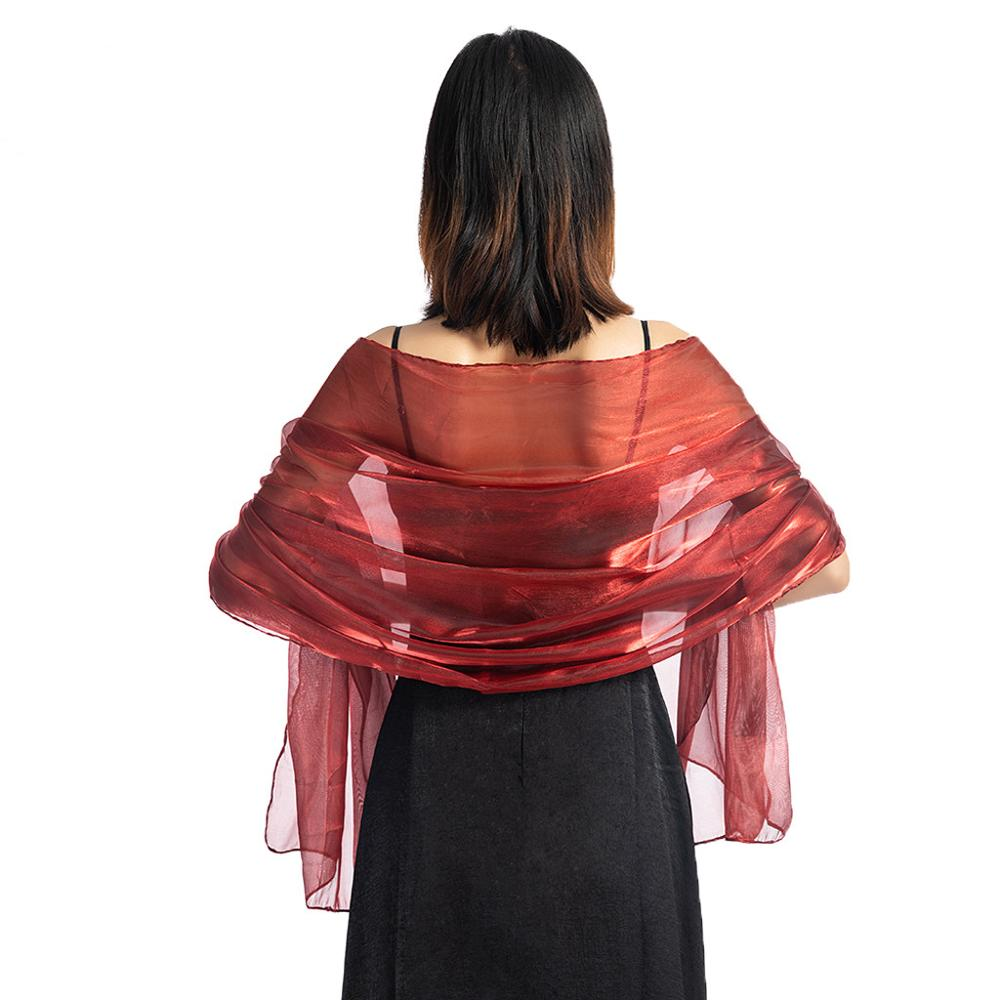 2019 Women Evening Dress Chiffon Wraps Wedding Shawl Solid Color Party Shawl Scarf Women Wrap  For Evening Party Dress D