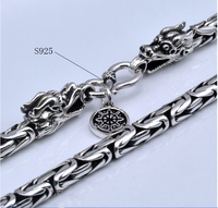925 Sterling Silver Chain Necklace Dragon Head S925 Silver Necklaces For Men Jewelry Punk Style Top