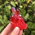 Редкий красивый кристаллический кластер кварца с красным пламенем aura 80 г