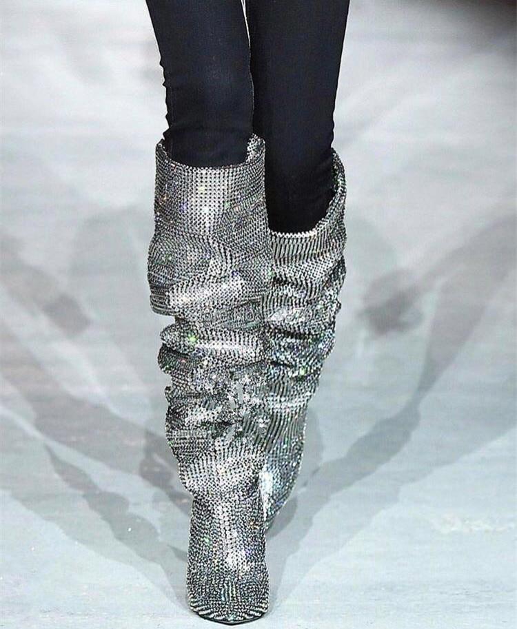 Conception Cuissardes Talon Cuir khaki bleu Bottes Longues De beading Dernière noir Luxe 2018 Chaussures Perles Pointu Taille Black En Grande Suede Spéciale Femmes twXxAg5q