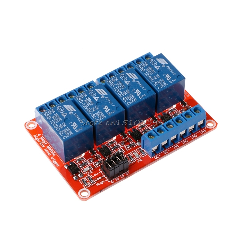 12V 4 Channel 4 Road Relay Module with Optocoupler Isolation Supports High and Low Trigger G08 Drop ship 1pcs 8 channel 12v relay module with optocoupler isolation supports high and low trigger