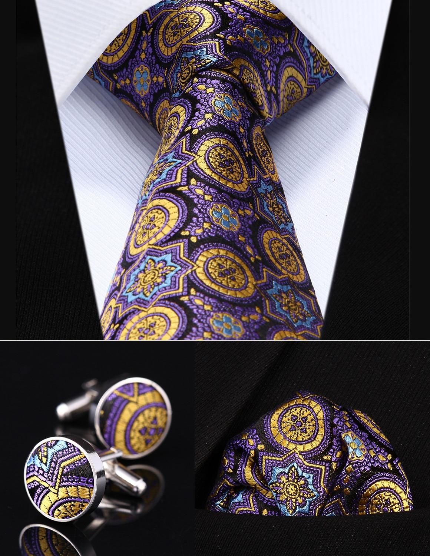 """Party Wedding Classic Pocket Square Tie TZF01Y8 Purple Floral 3.4"""" Silk Men Tie Necktie Handkerchief Cufflinks Set"""