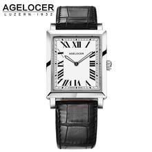 Agelocer Swiss Brand Watch Fashion Quartz-watch 100% Real Leather Ladies Wrist Watch Women Dress Watches